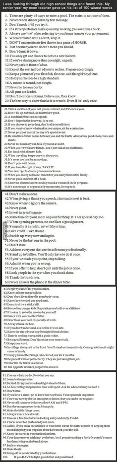 100 words of wisdom. I love all of these -- read if you have a moment!!