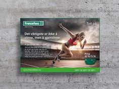 Advertising for Franzefoss Gjenvinning during the Norwegian Athletics Championship. Advertising, Ads, Athletics, Branding, Cover, Books, Design, Brand Management, Libros