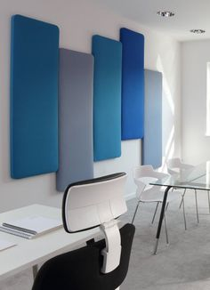 Acoustic wall absorbers in different colors Acoustic pictures Interior design is the art and science Acoustic Wall Panels, Open Space Office, Table Decor Living Room, Recording Studio Design, Sound Absorbing, Home Studio Music, Piano Room, Audio Room, Cabin Design