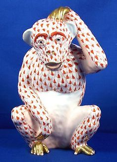 Herend Hand Painted Porcelain Figurine Monkey Scratching Rust Fishnet  Gold Accents.