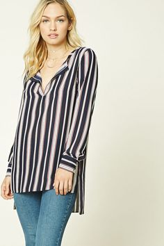 Forever 21 Contemporary - A woven tunic featuring a stripe pattern, a split neckline, long sleeves with button cuffs, a high-low hem, and side vents.