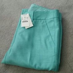 "NWT J CREW- 0 Petite Wool Skimmer pant SOLD OUT IN STORES, FACTORY AND ONLINE!  J. CREW wool skimmer pants in Vintage Aqua Brand new, tags attached, never worn Size 0/petite  25"" inseam  Smoke and pet free home  Please feel free to ask questions, or request additional photos  Don't forget to bundle for discounts! J. Crew Pants Ankle & Cropped"