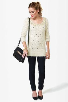 Cute Sequin Sweater - Fuzzy Sweater - Polka Dot Sweater - Ivory Sweater - $51.00