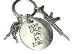 Zombie Keychain  Keep Calm And Kill Zombies Keyring Walkers Charm TWD Bag Charm Apocalypse Gift Zombie Survival Fandom Jewelry by BellaAniela (9.00 GBP)