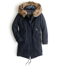 An iconic military parka for the ladies, geared up for winters. | A Woolrich for J.Crew Parka