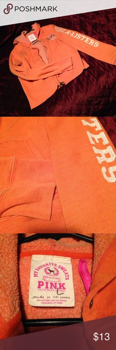 VS Pink hoodie Worn orange hoodie sweatshirt has three small spots on it shown in pictures. Full zip. PINK Victoria's Secret Tops Sweatshirts & Hoodies