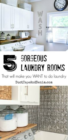 Hmmm. Camper back splash!!        5 Gorgeous Laundry Rooms that will make you WANT to do laundry | DuctTapeAndDenim.com