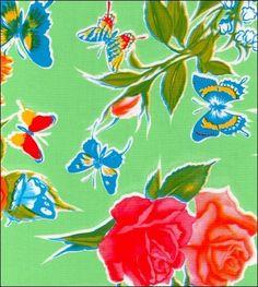 Edgars Butterfly Light Green Oilcloth