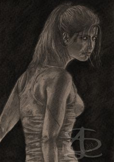 Manuela Velasco as Ángela Vidal in '[REC] 4: Apocalypse' (from the movie poster). Freehand sketch using HB, 4B pencils and eraser. Darkened, tinted etc. digitally.