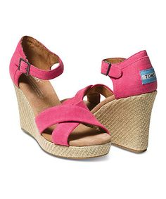 Take a look at this Pink Hemp Wedge Sandal - Women by TOMS on #zulily today!