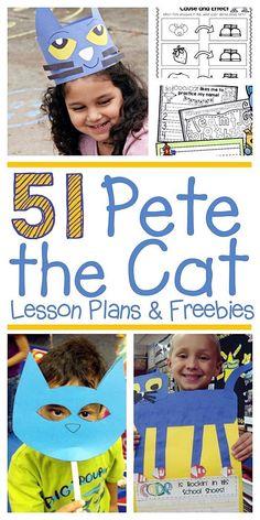 51 Groovy Pete the Cat Lesson Plans and Freebies - KindergartenWorks Cat Activity, Kindergarten Reading, Kindergarten Library Lessons, Kindergarten Lesson Plans, Math Lesson Plans, Author Studies, Unit Studies, Toddler Book Activities, Letter T Activities