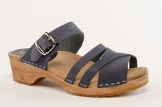 PIA Navy Sandal - Walk the Walk in these clog sandals which will give you comfort and coolness for your toes. Constructed on our low 1 3/4-inch heel height with soft navy-colored leather uppers, these new sandals will go the distance. Order here: http://store.capeclogs.com/picapicahighheel.aspx.