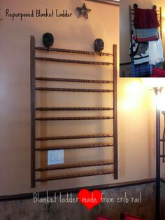 Repurposed crib railing to blanket ladder (we had the sunflowers & wood to hang it). Love bringing new life to objects. :) - March 16 2019 at Blanket Rack, Diy Blanket Ladder, Make Blanket, Crib Blanket, 2x4 Crafts, Diy Home Crafts, Diy Crib, Diy Bed, Old Headboard