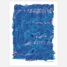 Fab.com | Blue Synthesizer Print 18x24    [Same design repeated in an angular form]