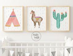 Teepee - Llama - Cactus - nursery illustration - Pink Inexperienced hues - Alpaca set - Artwork - set prints little one - child decor Baby Girl Nursery Themes, Baby Room Art, Baby Room Decor, Nursery Wall Art, Nursery Decor, Cactus Wall Art, Cactus Decor, Llama Decor, Tribal Baby Shower