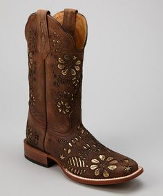 Take a look at this Rust Leather C-Toe Western Boot - Women by Johnny Ringo Boots on #zulily today! want these!!!
