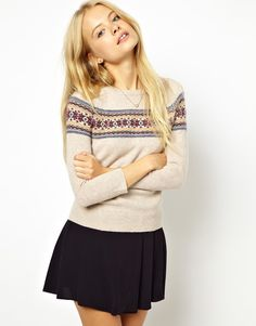 Women's Jack Wills Fair Isle Crewneck Sweater Sleeves Merino Wool Size 2 EUC in Clothing, Shoes & Accessories, Women's Clothing, Sweaters Christmas Jumpers, Winter Jumpers, Cozy Christmas, Moda Fashion, Cute Fashion, Fashion Outfits, Pretty Outfits, Fall Outfits, Shopping
