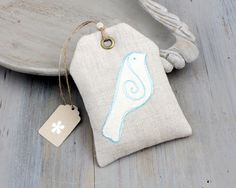 Lavender Sachet Gift Tag with Stitched Bird, Cottage Decor