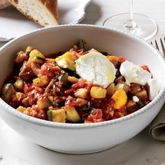 Speedy Ratatouille with Goat Cheese // More Recipes with Goat Cheese: www.foodandwine.c... #foodandwine