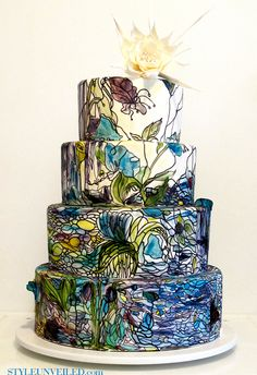 Style Unveiled - Style Unveiled | A Wedding Blog - Watercolor Inspired Wedding Cake