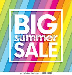 Summer sale on colorful striped background.