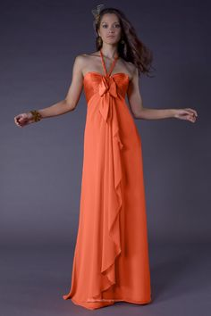 Chic orange halter bow empire sweetheart sleeveless long prom bridesmaid  dress with cascading chiffon from bodice b770642ef168