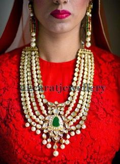 This is heavy but pinning for style of emerald, vintage royal indian jewelry.   Jewellery Designs: Polki Bridal Haar with Pearls