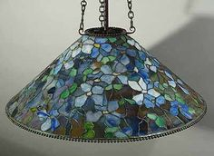 """The 28"""" Clematis Cone Tiffany hanging lamp shade"""