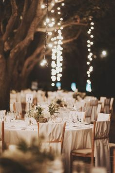 Love the string lights hanging from trees to create romantic vibes | Photo by Nessa K Photography