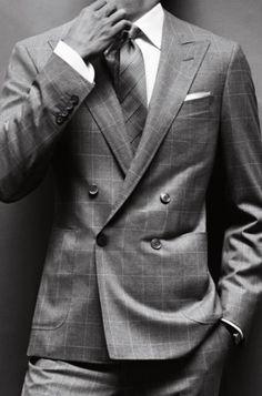 Ermenegildo zegna grey herringbone double breasted suit uomo haute