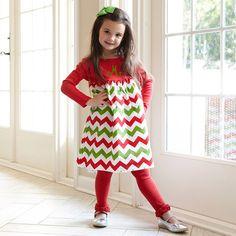Girls Chevron Red Dress