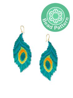 Miyuki Delica PDF Informations About Peacock feather earrings beading pattern Bead Jewellery, Seed Bead Jewelry, Seed Bead Earrings, Feather Earrings, Beaded Earrings Patterns, Beading Patterns, Beading Tutorials, Bracelet Patterns, Seed Bead Crafts