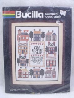 "BUCILLA VINTAGE STAMPED CROSS-STITCH CRAFT KIT ""MY HOME TOWN"" RARE #49965 #Bucilla #Sampler"