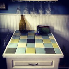 DIY Ceramic tile countertop in our bar area.