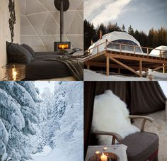 Geodesic dome camping and skiing in the Swiss Alps. Cool...Ok Cold, I'll never get my husband there.