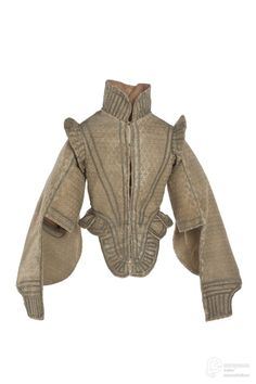 Elizabethan Doublet, From Les Arts Décoratifs via Europeana Fashion. I don't trust it until I see it on the museum page, and other examples, but will leave it for now. Elizabethan Clothing, Elizabethan Fashion, Tudor Fashion, Medieval Clothing, Gypsy Clothing, Medieval Gown, Steampunk Fashion, Gothic Fashion, 16th Century Fashion