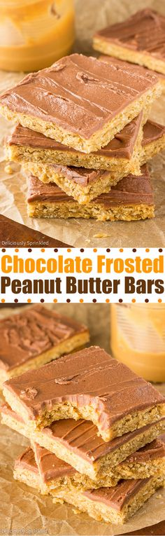 Chocolate Frosted Peanut Butter Bars- a grade school lunch dessert favorite!