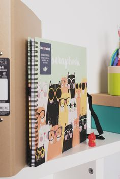 Keep your favourite snaps or showcase your crafts, doodles and cuttings in this scrapbook which features adorable cartoon images of cats wearing fun glasses! White Leaf, Cuttings, Cartoon Images, Breast Cancer, Uni, Stationery, Doodles, Scrapbook, Female