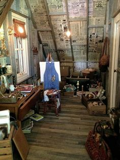 The artist studio in grand 1/12th miniature scale by the inimitable Kathleen Holmes. Wow!