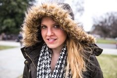 Madeline | Duke University Fur Trimmed Jacket Houndstooth Scarf Black Lace Skirt and Leggings Black Boots