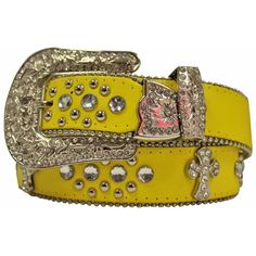 Yellow Rhinestone Western Cowgirl Belt With Cross ($15) ❤ liked on Polyvore featuring accessories, belts, jeweled, yellow, rhinestone belt, rhinestone cowgirl belts, western belts, jeweled belt and cowboy belt