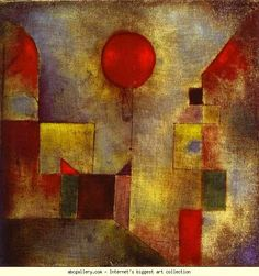 Klee red balloon cityscape