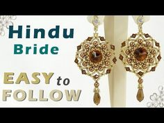How to make earrings useing 14mm rivoli, 4 mm round beads and bicones - YouTube