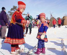The Saami tribes of northern Scandinavia have a very unique dress of their own because of their isolation from Germanic culture to the south. Their ethnicity is the same.