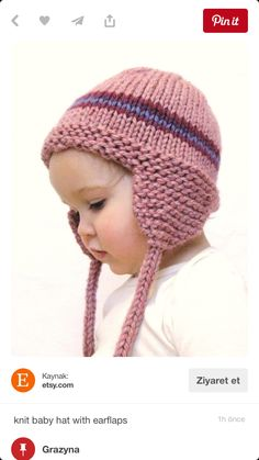 fa9926e154b knit baby hat with earflaps - etsy.