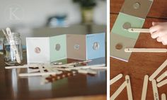 coin book game from paint chips and popsicle sticks