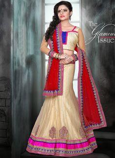 Glorious Cream Net Designer Lehenga Choli   Wedding Lehenga Choli   Bridal Lehenga Choli   Item Code: 3520