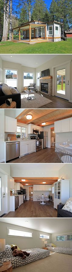 The Bellevue: a stunning, luxury cottage on Lake Whatcom in Washington. Love the tiny house, hate the hefty price! Little Houses, Tiny Houses, Guest Houses, Dog Houses, Park Model Homes, Interior Design Minimalist, Casas Containers, Tiny House Movement, Tiny Spaces