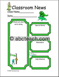 frog classroom themes | Classroom Newsletter: Frog theme (color) - preview 1