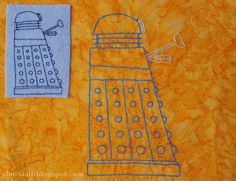 Dalek embroidery pattern for felt or fabric. Pattern gives two sizes.